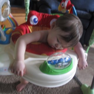 she fell asleep in her bouncy-thing..