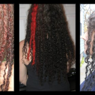 The first two pics are from about my 4th day with TnR dreads. The third pic is from today over 3 months in. You can really see the gray coming in and the length change. Underneath is where most of my loops are and you can see the middle part of the third pic has shrunk up to the top of my shoulders.