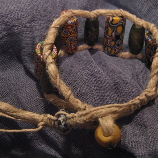 Newest Creations-Kiowa's African Trade Bead Hemp Ladder Bracelet