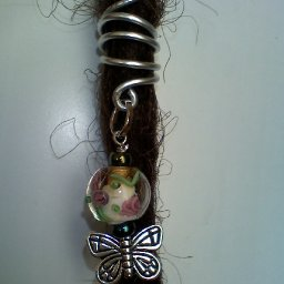 glass bead butterfly dread charm