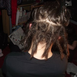 okay, so we decided to give jacob dreadlocks, as he has been waiting for about a year. Me& tamara aren't exactly pro at them... so... here are the results, are they ok? :)