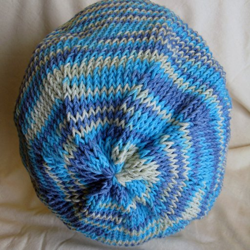 blue and white tam