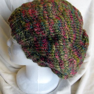 pink and green knitted