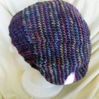 purple stripe,malabrigo merino worsted,hand knit tam