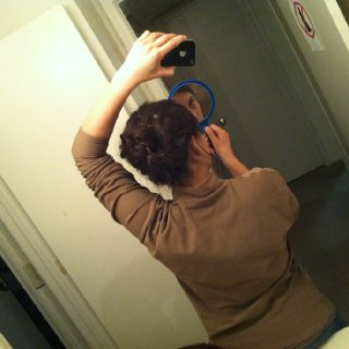 """One of my """"incognito"""" hair styles for work. Just done with a TON of hair pins."""