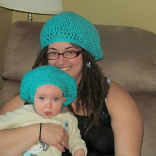 self crocheted mathcing slouchies <3