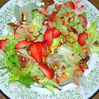 strawberry pecan salad with red wine vinegar dressing.