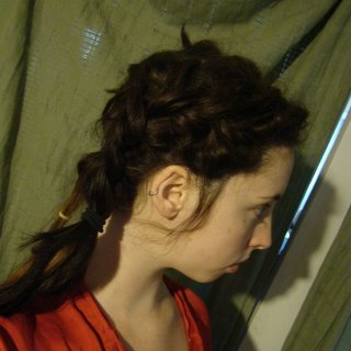 first attempt at a kind of 'style', loose french braid sort of thing. right side turned out much better than the left