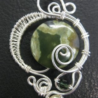 rain forest jasper, pearl and swarovski with silver plated wire