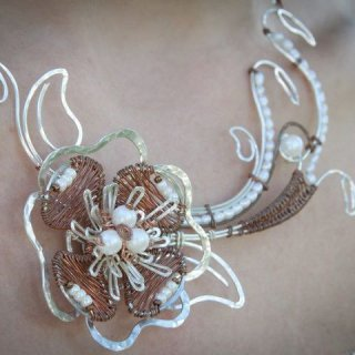 Silver plate, copper, pearls and glass