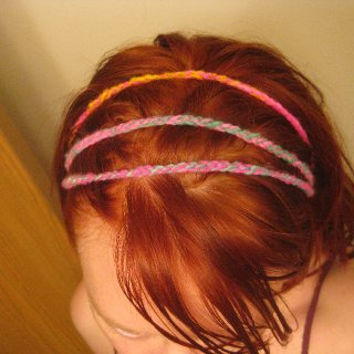 small bit of some fun handspun left so i whipped up a quick crochet headband