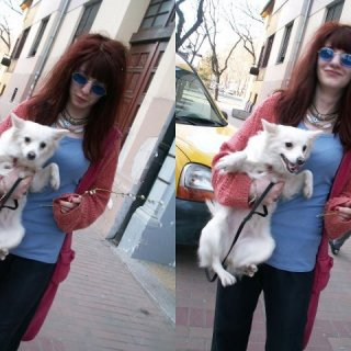 I don't usually carry her around, but she refuses to walk through this street for some reason, she pulls back, so I have to pick her up. :)