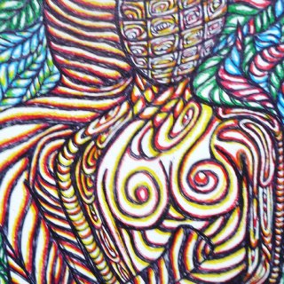 I used pen and colored pencil to create this piece. It was drawn on Strathmore acid free heavy duty watercolor paper. It is 9x11in.