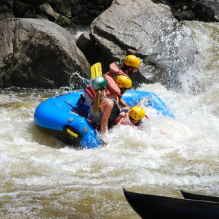 When white water rafting, make sure you go forwards.