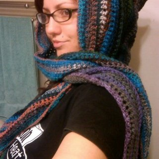 First hooded scarf with 5 skeins of yarn.
