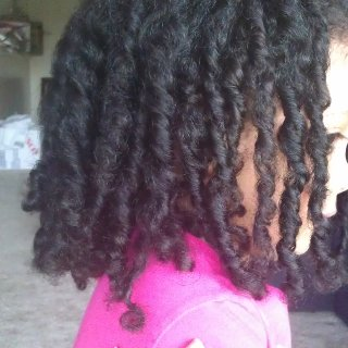 My baby girl Kiyomi's hair. Single twisted and bit of tnr here and there. Gonna leave it alone from here.