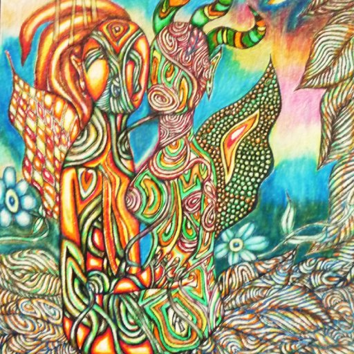 Surrealism Psychedelic Art Visionary Pen and Colored Pencil Drawing