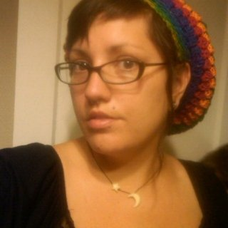 Dreads up. Calypso is the yarn I used... Synthetic bobble stitched tam I made today. I think this particular yarn is nice but I need to rework the brim (I don't personally like it.)