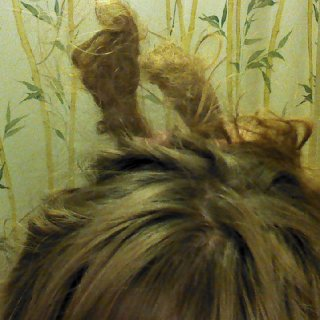 "hair wads. the only part u can't see is where it attaches to my head, otherwise, that's the entire ""dread"". see the compressed zig zags? yikes!"