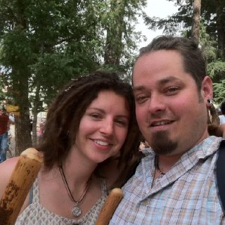 my hubby and i renn faire. dreads 7 mo. old