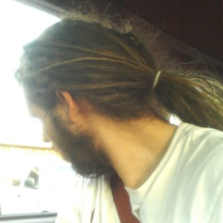 The hair I mean. Haha, I like the feel of it down way better. I guess the hairs natural flow. Always did feel better even before the dreads. I guess that's the problem with manuel labor, can't be hangin low, so to speak. Haha