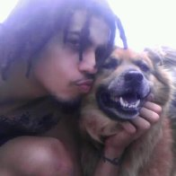 R.I.P. Lucky 7/2/12 German Shepard Chow Mix, if you would comb his hair he'd get dreads popping up, became part of my inspiration to grow mine.