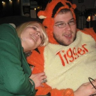 Mike Hallman wearing a complete Tigger suit to our open mic