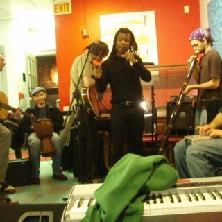 From Right to left: Adam on the drum box Me playing didge Aaron on vocals Ben on Guitar James on my djembe Joe on guitar