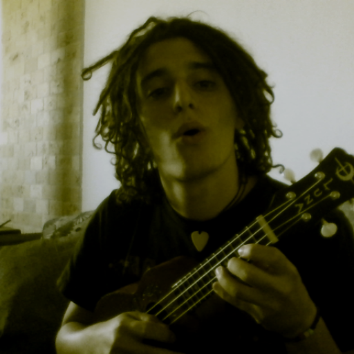playing the Ukulele while attempting to sing