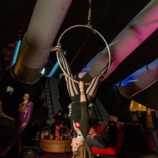 Me performing with my circus on the Battleship NJ for PEX's Halloween Ball 2012. Couldn't get my locks to stay up in a ponytail because I was flipping around too much! they are almost 2 1/2 years old now :]