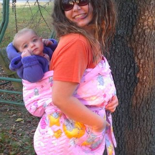 My sweetie baby & me rocking our newest stash addition, a traditional Korean baby carrier ^_^ also, my dreadies are a lil over 4 mos old!!!
