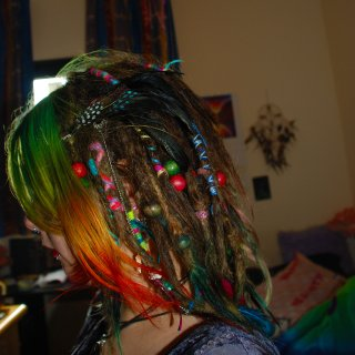 Had a lot of braids and beads at this stage, still with the rainbow at the front