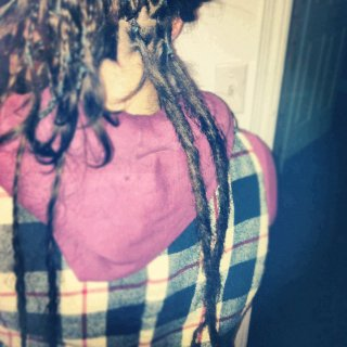 Backcombed. 1st two dreads i ever did on myself.