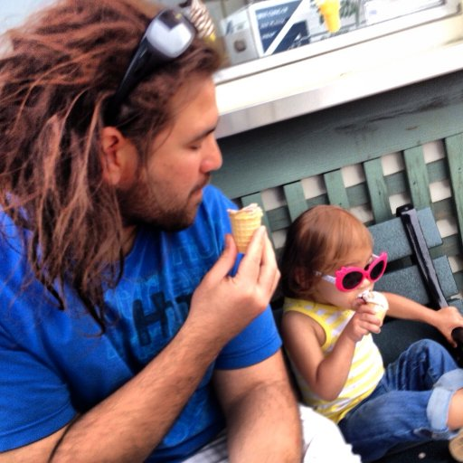 Papa Lion and Cub enjoying some ice cream