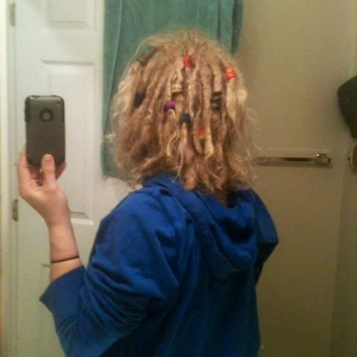 1 year natural dreads with beads I made