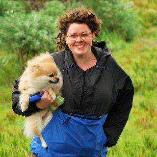 My pomeranian, Woobie. We were enjoying a crazy windy day in northern CA.
