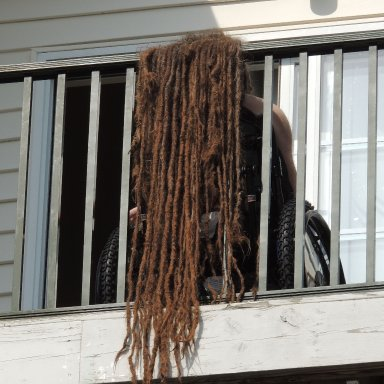 sun drying 23 year old natural dreadlocks