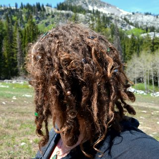 8 months with dreads. Hiking at the Brighton ski resort near Salt Lake City.