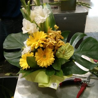 My very first flower arrangement at my new floristry job!