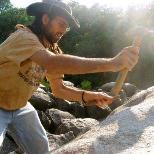 Hammering rocks