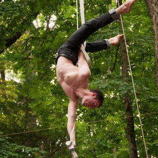 Eric performing a new routine on the straps