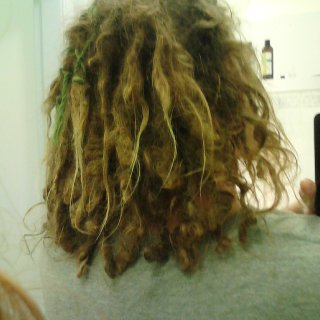 Here's the back of my head at 11 months, I've gained maybe 1/5-1~ inch in length but it's getting there, you can see some little wraps I did to try and get some dreads around my little centre part to join because I didn't have the foresight to brush that out when I started