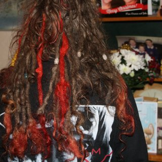 Dyed a few entire dreads red :)