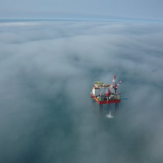 Never mind all the pics I've taken over the past ten years; this is by far the best one. The ocean can be beautiful. This time she's dressed in a foggy coat. This rig is my second home since 2005.