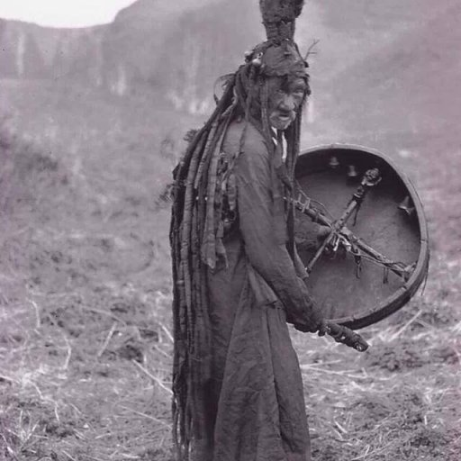 mongolian shaman with dreadlocks