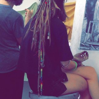 In my Tyler School of Art Portfolio Prep class, my teacher (Karen Reynolds) is helping me finish up my first still life. My dreads are 2 years and 11 months!