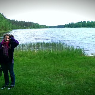 This is Trehörningen, a small lake where I used to bathe as a child. I'm fetching water for the sauna.