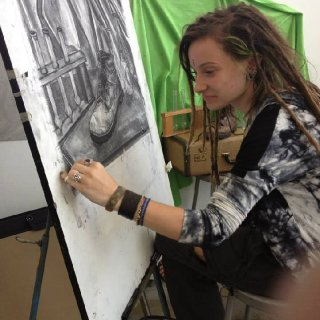 Me at my 4 month Tyler School of Art, at Temple University this summer, drawing in my pre-college art class in Philadelphia. Here I am working on a vine charcoal drawing, with a still life set up I designed myself