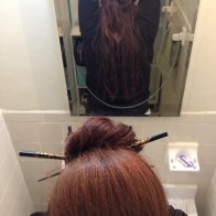Five months, bun knot w/ dreads down