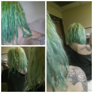The top left is fresh from the shower. The time is going by so quickly! Going to try to get some clearer photos of the back soon. I have so many loops :3